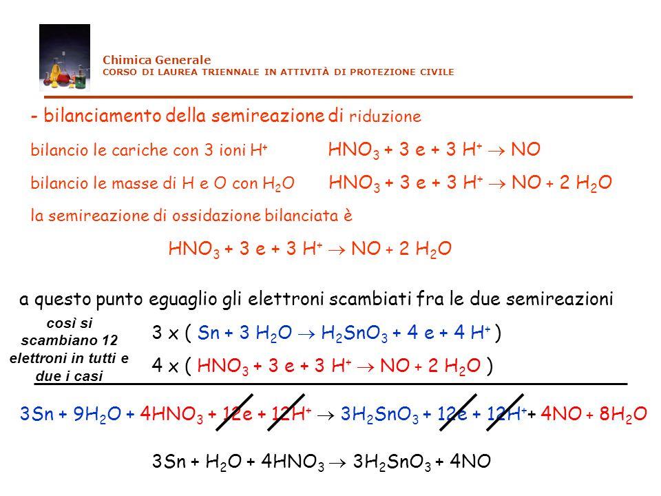 3Sn + 9H 2 O + 4HNO 3 + 12e + 12H + 3H 2 SnO 3 + 12e + 12H + + 4NO + 8H 2 O 3Sn + H 2 O + 4HNO 3 3H 2 SnO 3 + 4NO - bilanciamento della semireazione d