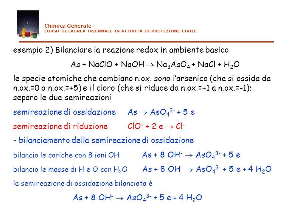 esempio 2) Bilanciare la reazione redox in ambiente basico As + NaClO + NaOH Na 3 AsO 4 + NaCl + H 2 O le specie atomiche che cambiano n.ox. sono lars