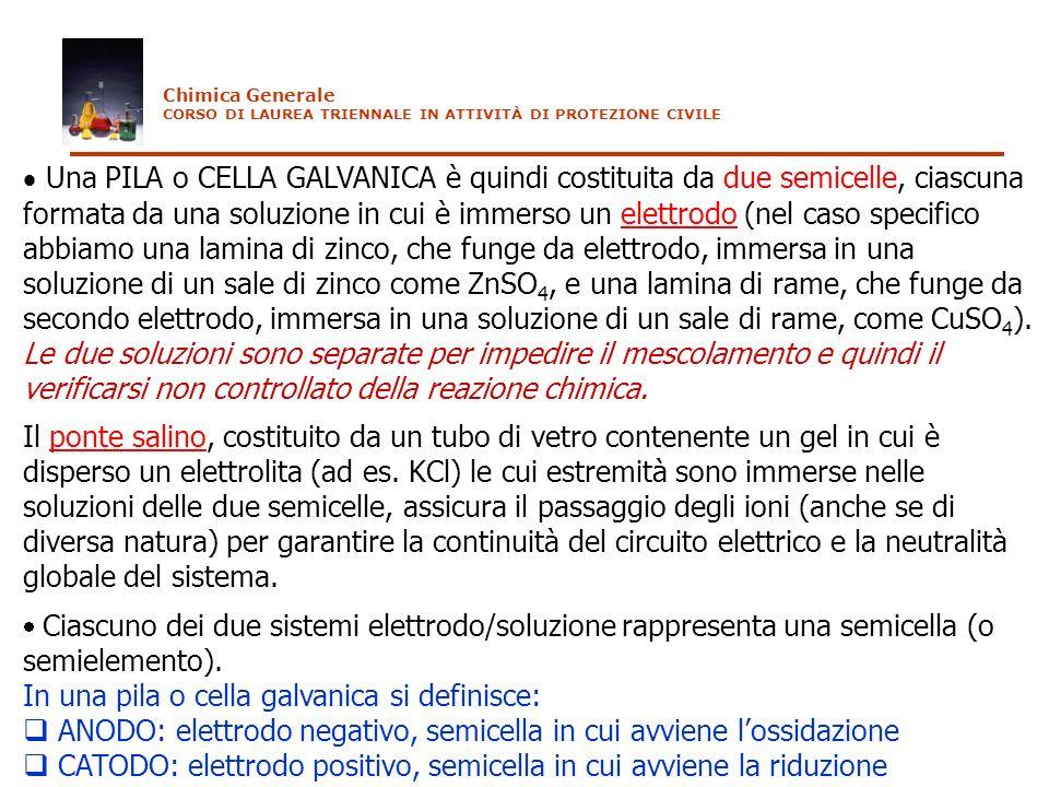 Una PILA o CELLA GALVANICA è quindi costituita da due semicelle, ciascuna formata da una soluzione in cui è immerso un elettrodo (nel caso specifico a