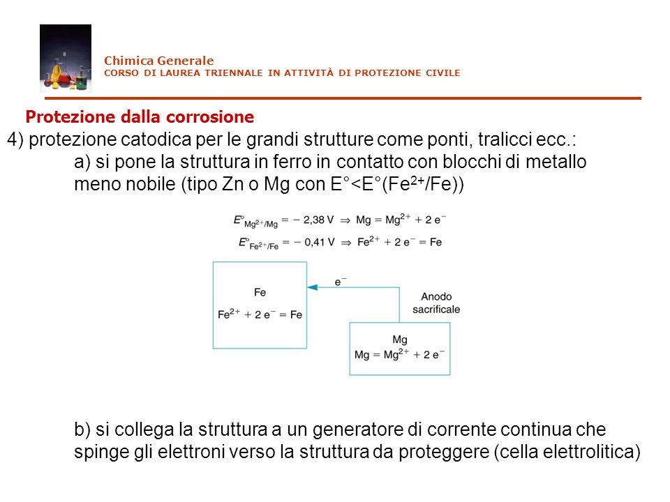 4) protezione catodica per le grandi strutture come ponti, tralicci ecc.: a) si pone la struttura in ferro in contatto con blocchi di metallo meno nob