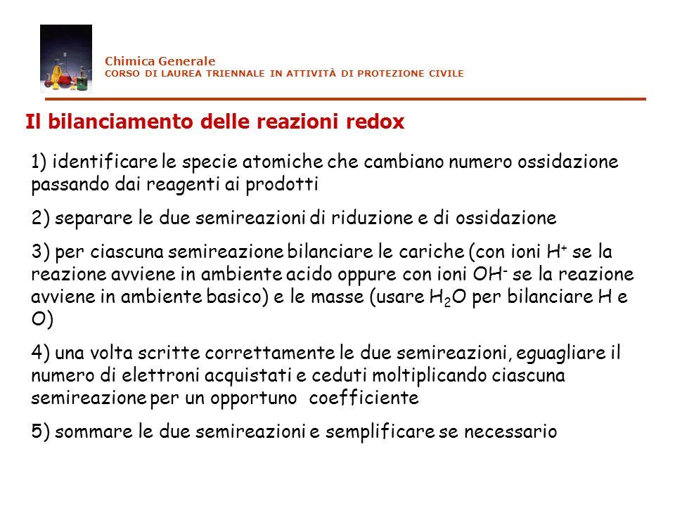 Il bilanciamento delle reazioni redox 1) identificare le specie atomiche che cambiano numero ossidazione passando dai reagenti ai prodotti 2) separare