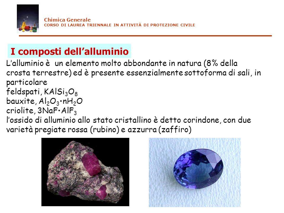 I composti dellalluminio Lalluminio è un elemento molto abbondante in natura (8% della crosta terrestre) ed è presente essenzialmente sottoforma di sa