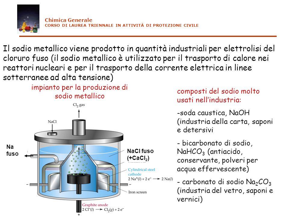 Il sodio metallico viene prodotto in quantità industriali per elettrolisi del cloruro fuso (il sodio metallico è utilizzato per il trasporto di calore nei reattori nucleari e per il trasporto della corrente elettrica in linee sotterranee ad alta tensione) NaCl fuso (+CaCl 2 ) Na fuso impianto per la produzione di sodio metallico composti del sodio molto usati nellindustria: -soda caustica, NaOH (industria della carta, saponi e detersivi - bicarbonato di sodio, NaHCO 3 (antiacido, conservante, polveri per acqua effervescente) - carbonato di sodio Na 2 CO 3 (industria del vetro, saponi e vernici) Chimica Generale CORSO DI LAUREA TRIENNALE IN ATTIVITÀ DI PROTEZIONE CIVILE