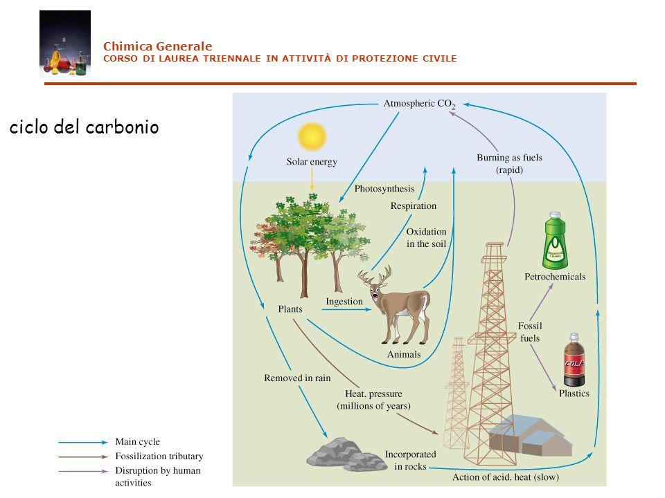 ciclo del carbonio Chimica Generale CORSO DI LAUREA TRIENNALE IN ATTIVITÀ DI PROTEZIONE CIVILE
