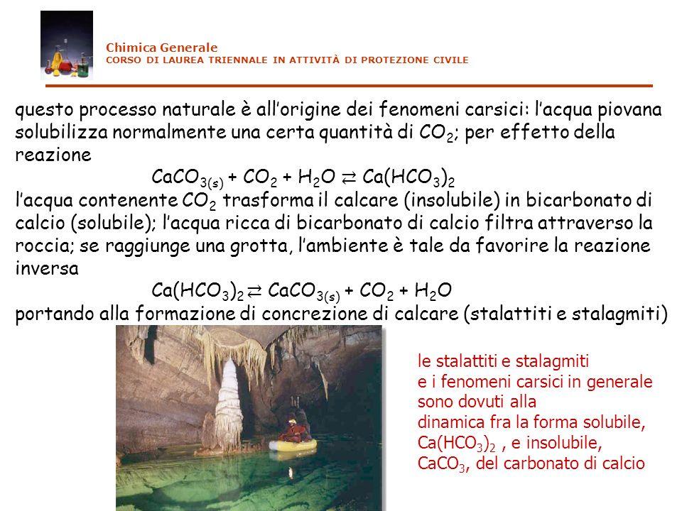 questo processo naturale è allorigine dei fenomeni carsici: lacqua piovana solubilizza normalmente una certa quantità di CO 2 ; per effetto della reazione CaCO 3(s) + CO 2 + H 2 O Ca(HCO 3 ) 2 lacqua contenente CO 2 trasforma il calcare (insolubile) in bicarbonato di calcio (solubile); lacqua ricca di bicarbonato di calcio filtra attraverso la roccia; se raggiunge una grotta, lambiente è tale da favorire la reazione inversa Ca(HCO 3 ) 2 CaCO 3(s) + CO 2 + H 2 O portando alla formazione di concrezione di calcare (stalattiti e stalagmiti) le stalattiti e stalagmiti e i fenomeni carsici in generale sono dovuti alla dinamica fra la forma solubile, Ca(HCO 3 ) 2, e insolubile, CaCO 3, del carbonato di calcio Chimica Generale CORSO DI LAUREA TRIENNALE IN ATTIVITÀ DI PROTEZIONE CIVILE