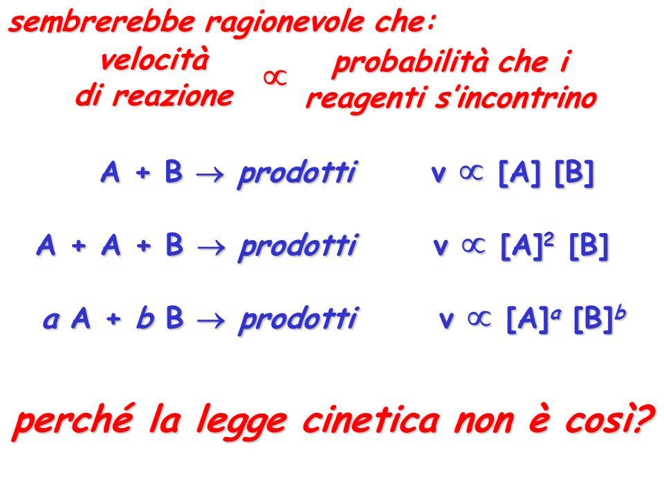 A + B prodotti v [A] [B] A + A + B prodotti v [A] 2 [B] a A + b B prodottiv [A] a [B] b perché la legge cinetica non è così? velocità di reazione prob