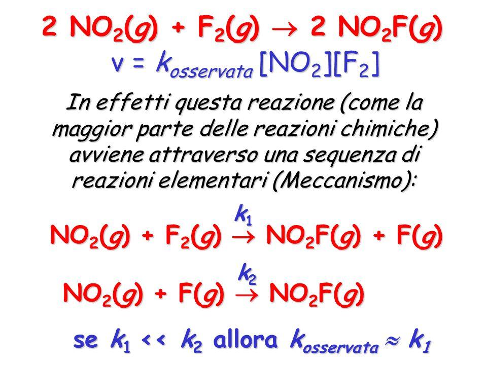 2 NO 2 (g) + F 2 (g) 2 NO 2 F(g) v = k osservata [NO 2 ][F 2 ] In effetti questa reazione (come la maggior parte delle reazioni chimiche) avviene attr