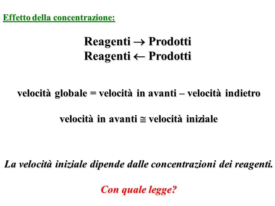 Effetto della concentrazione: Reagenti Prodotti velocità globale = velocità in avanti – velocità indietro velocità in avanti velocità iniziale La velo
