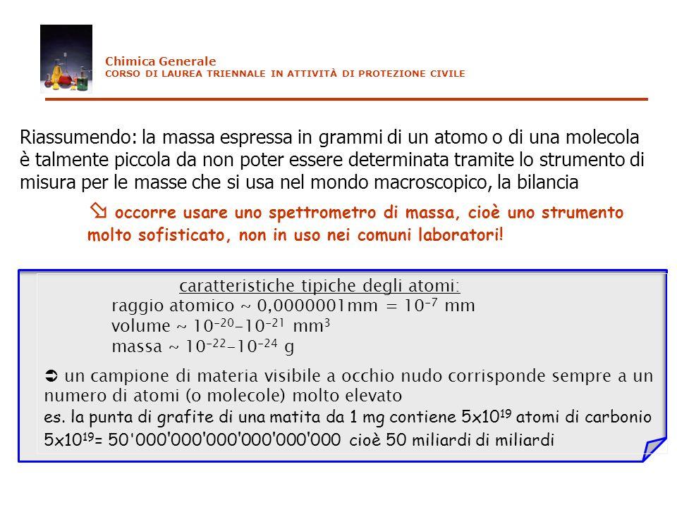 Riassumendo: la massa espressa in grammi di un atomo o di una molecola è talmente piccola da non poter essere determinata tramite lo strumento di misu