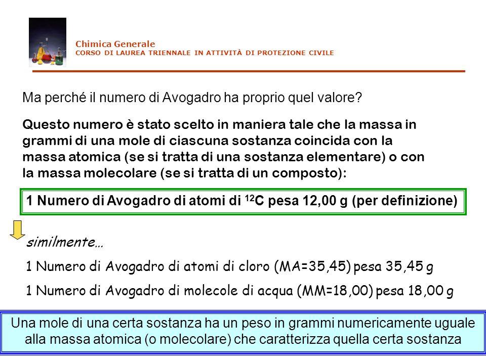 Ma perché il numero di Avogadro ha proprio quel valore? Questo numero è stato scelto in maniera tale che la massa in grammi di una mole di ciascuna so