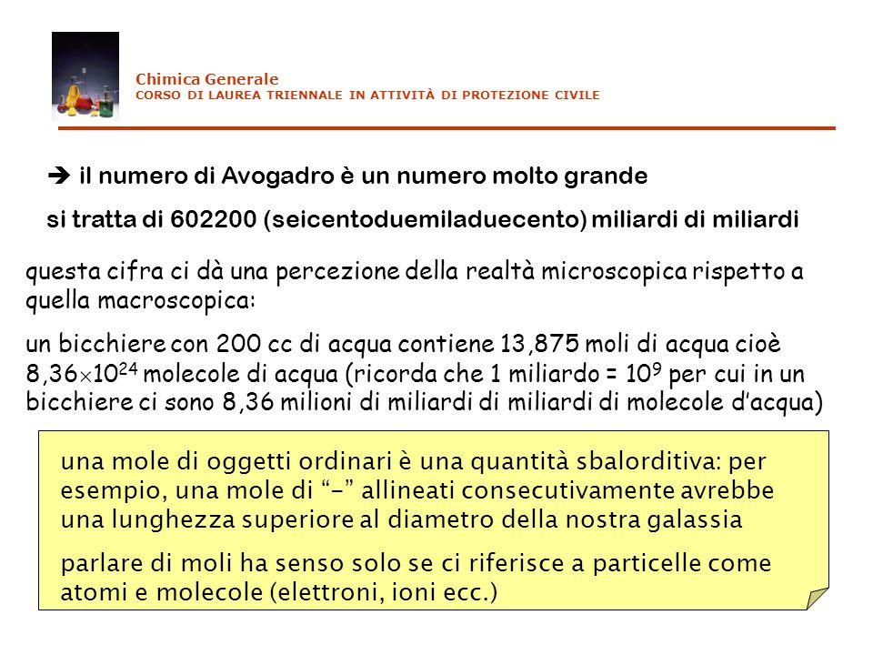 il numero di Avogadro è un numero molto grande si tratta di 602200 (seicentoduemiladuecento) miliardi di miliardi questa cifra ci dà una percezione de