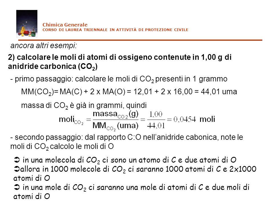 ancora altri esempi: 2) calcolare le moli di atomi di ossigeno contenute in 1,00 g di anidride carbonica (CO 2 ) - primo passaggio: calcolare le moli