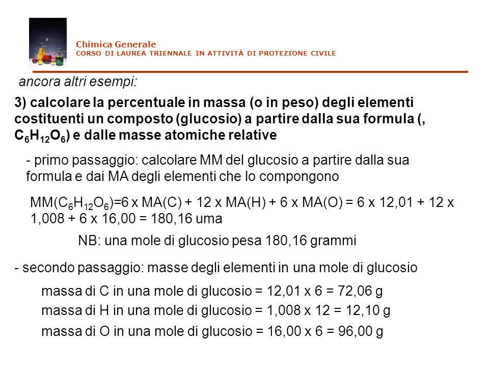 ancora altri esempi: 3) calcolare la percentuale in massa (o in peso) degli elementi costituenti un composto (glucosio) a partire dalla sua formula (,