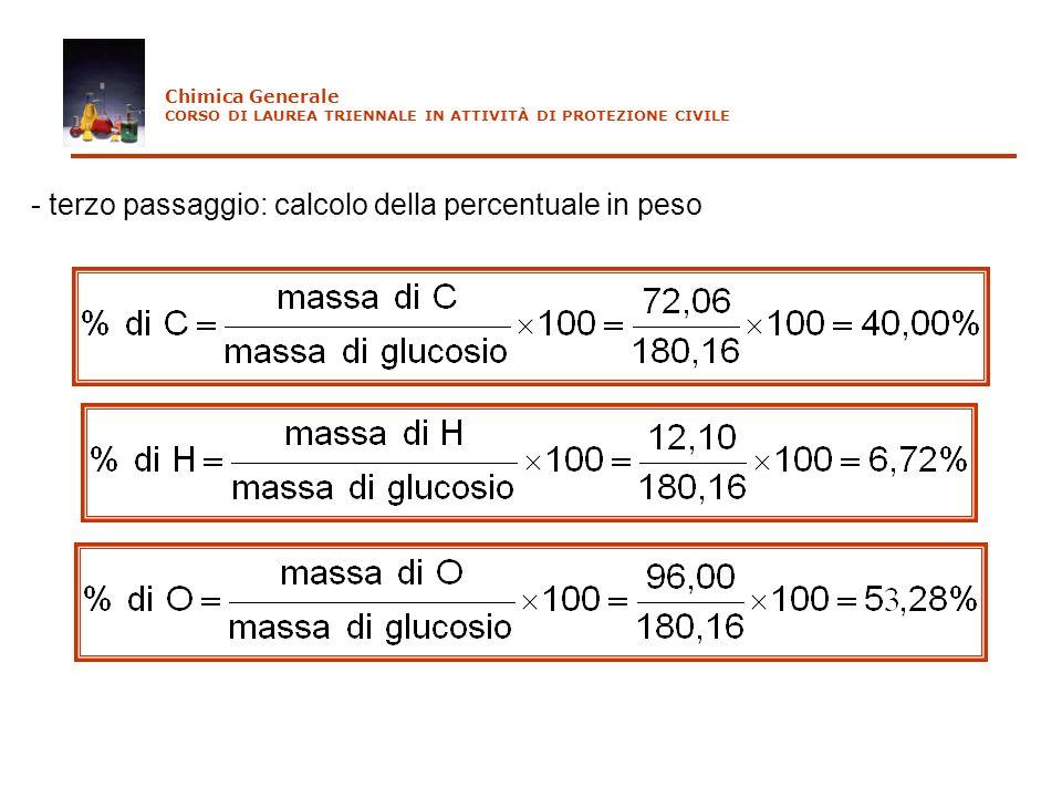 - terzo passaggio: calcolo della percentuale in peso Chimica Generale CORSO DI LAUREA TRIENNALE IN ATTIVITÀ DI PROTEZIONE CIVILE