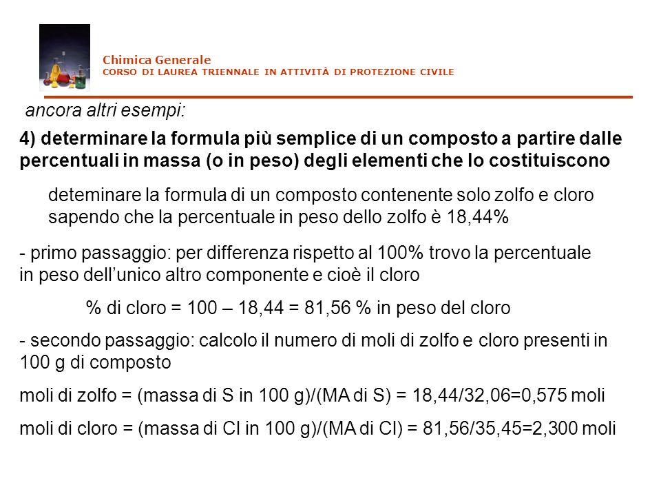 ancora altri esempi: 4) determinare la formula più semplice di un composto a partire dalle percentuali in massa (o in peso) degli elementi che lo cost