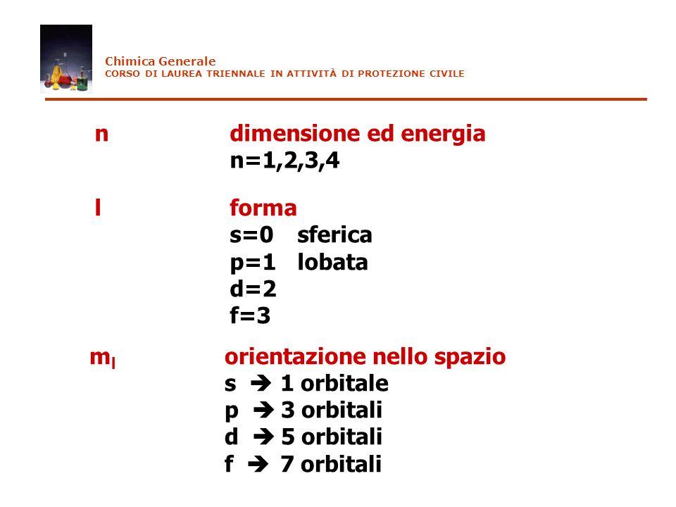lforma s=0 sferica p=1 lobata d=2 f=3 ndimensione ed energia n=1,2,3,4 m l orientazione nello spazio s 1 orbitale p 3 orbitali d 5 orbitali f 7 orbita