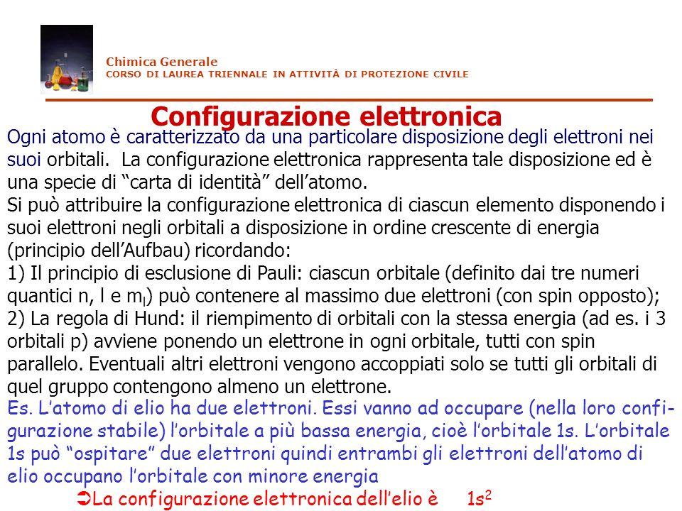 Configurazione elettronica Ogni atomo è caratterizzato da una particolare disposizione degli elettroni nei suoi orbitali. La configurazione elettronic