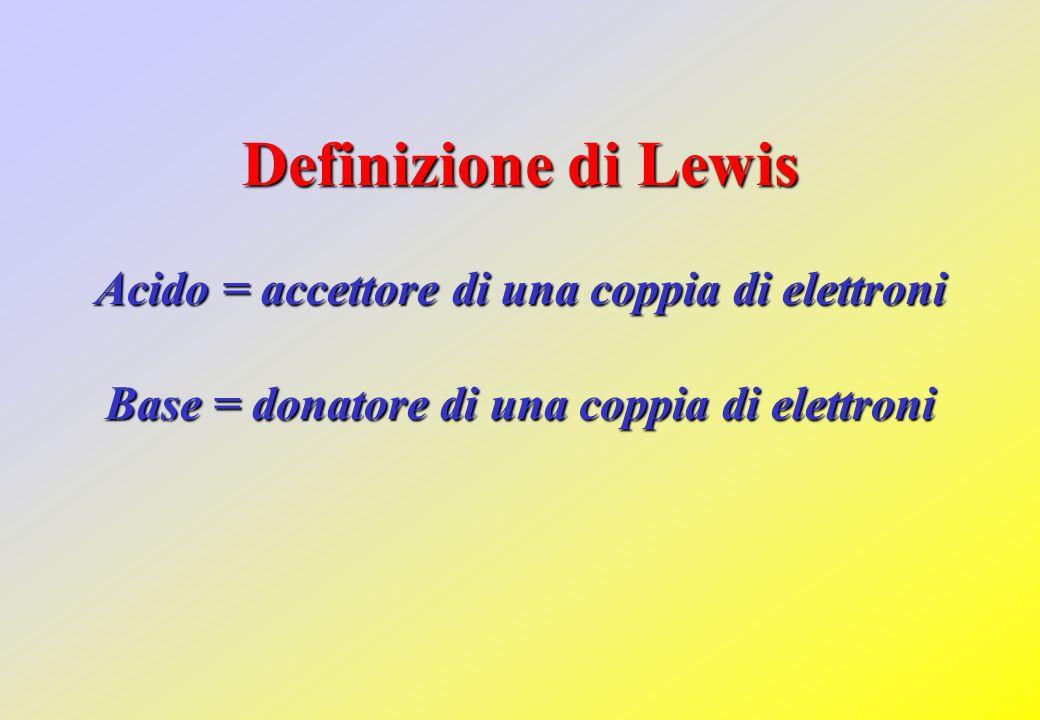 Definizione di Lewis Acido = accettore di una coppia di elettroni Base = donatore di una coppia di elettroni