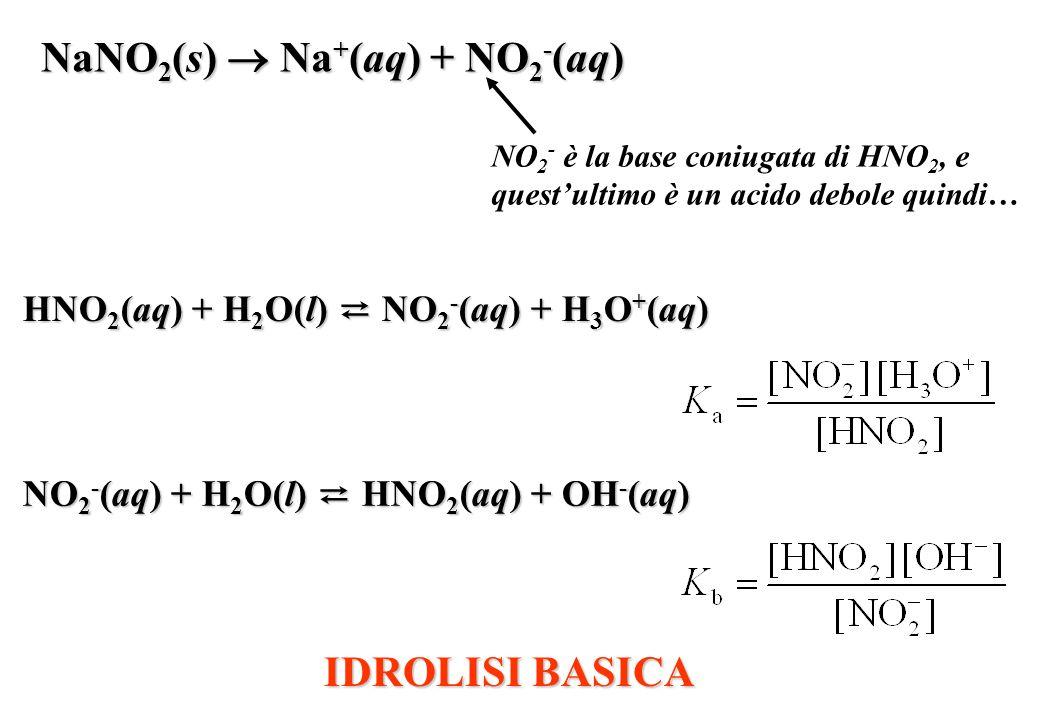 NaNO 2 (s) Na + (aq) + NO 2 - (aq) NO 2 - è la base coniugata di HNO 2, e questultimo è un acido debole quindi… NO 2 - (aq) + H 2 O(l) HNO 2 (aq) + OH