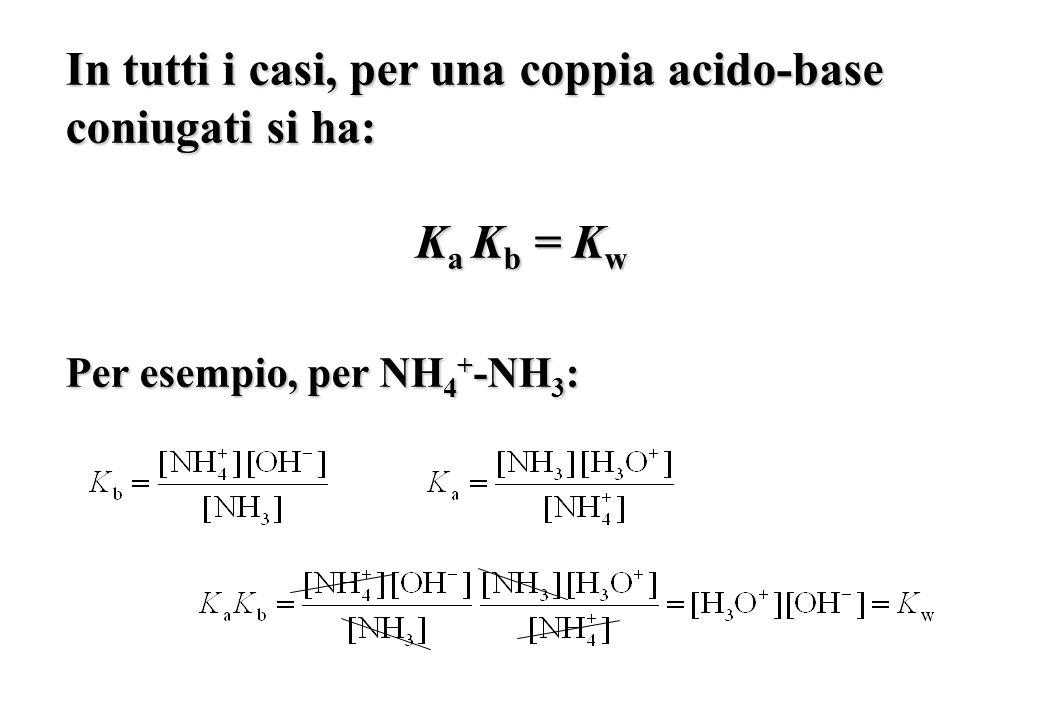 In tutti i casi, per una coppia acido-base coniugati si ha: K a K b = K w Per esempio, per NH 4 + -NH 3 :