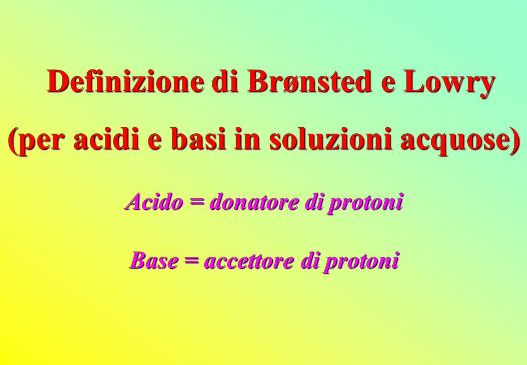 (per acidi e basi in soluzioni acquose) Acido = donatore di protoni Base = accettore di protoni Definizione di Brønsted e Lowry