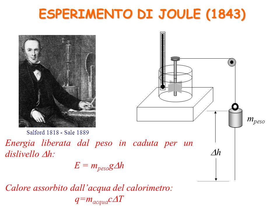 Energia liberata dal peso in caduta per un dislivello h: E = m peso g h Calore assorbito dallacqua del calorimetro: q=m acqua c T ESPERIMENTO DI JOULE