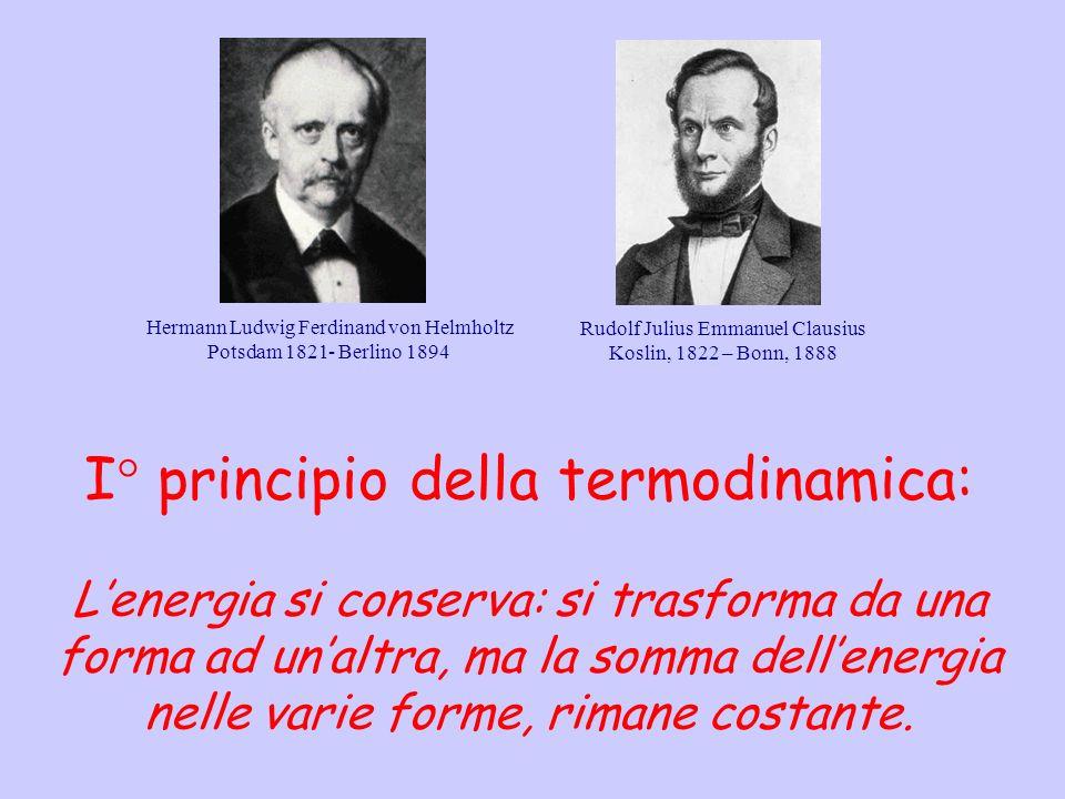 I principio della termodinamica: Lenergia si conserva: si trasforma da una forma ad unaltra, ma la somma dellenergia nelle varie forme, rimane costant