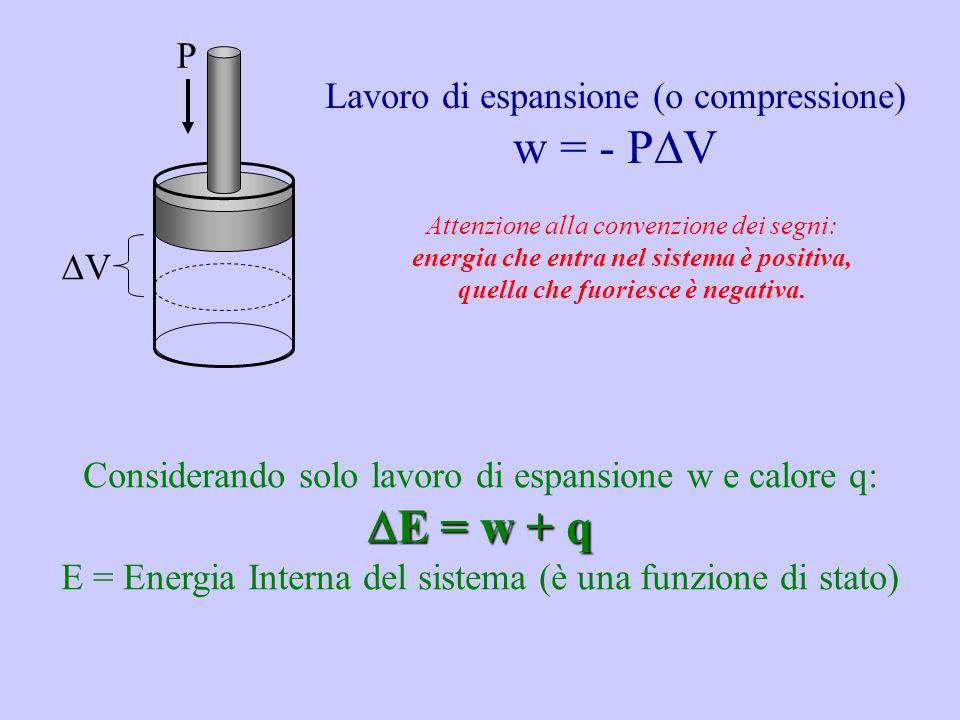 Lavoro di espansione (o compressione) w = - P V Attenzione alla convenzione dei segni: energia che entra nel sistema è positiva, quella che fuoriesce