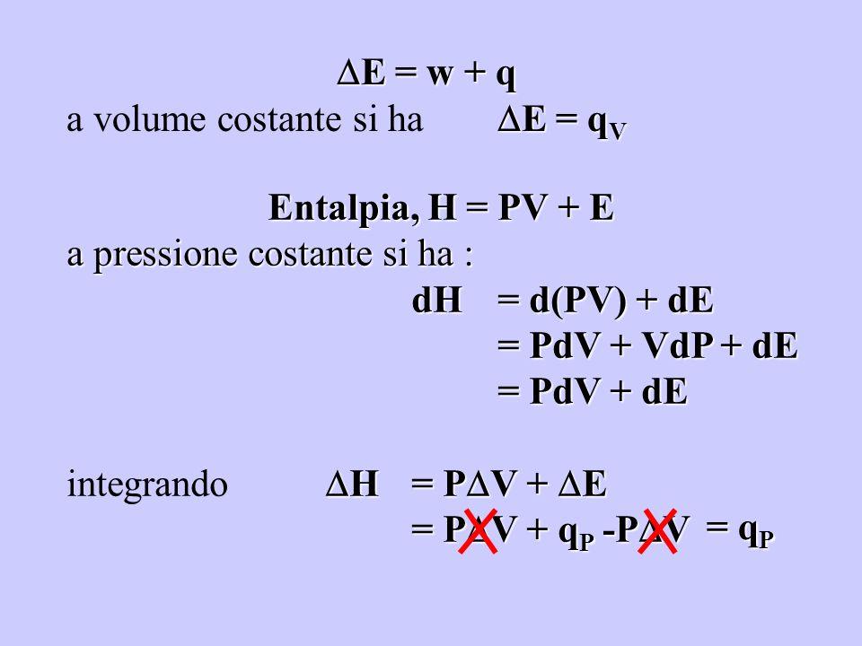E = w + q E = w + q E = q V a volume costante si ha E = q V Entalpia, H = PV + E a pressione costante si ha : dH = d(PV) + dE = PdV + VdP + dE = PdV +