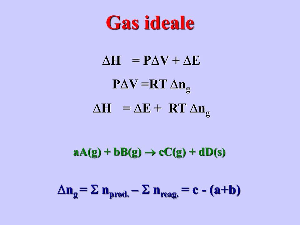 H = P V + E H = P V + E P V =RT n g H = E + RT n g H = E + RT n g Gas ideale aA(g) + bB(g) cC(g) + dD(s) n g = n prod. – n reag. = c - (a+b) n g = n p