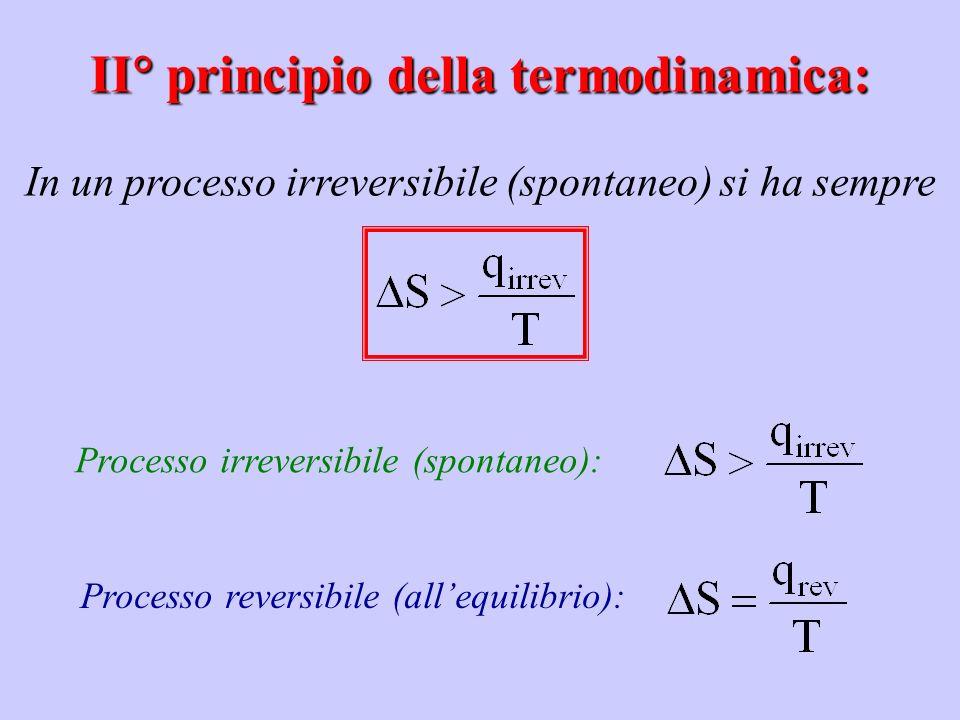 Processo irreversibile (spontaneo): Processo reversibile (allequilibrio): II principio della termodinamica: In un processo irreversibile (spontaneo) s