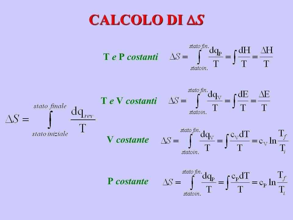 CALCOLO DI S T e P costantiT e V costanti V costanteP costante