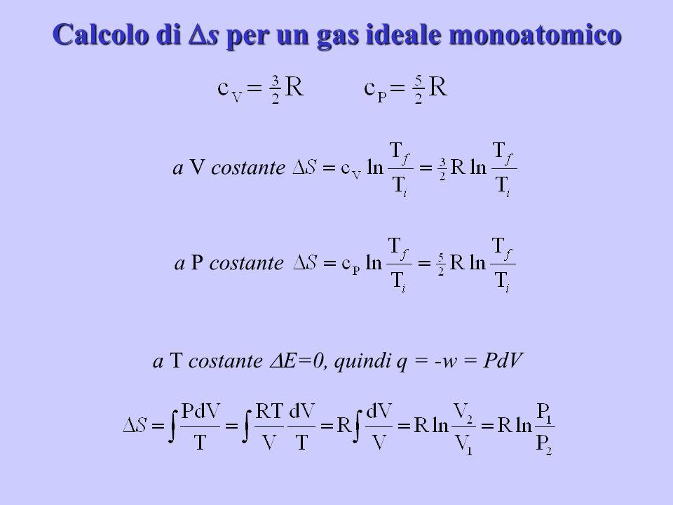 Calcolo di s per un gas ideale monoatomico a V costantea P costante a T costante E=0, quindi q = -w = PdV