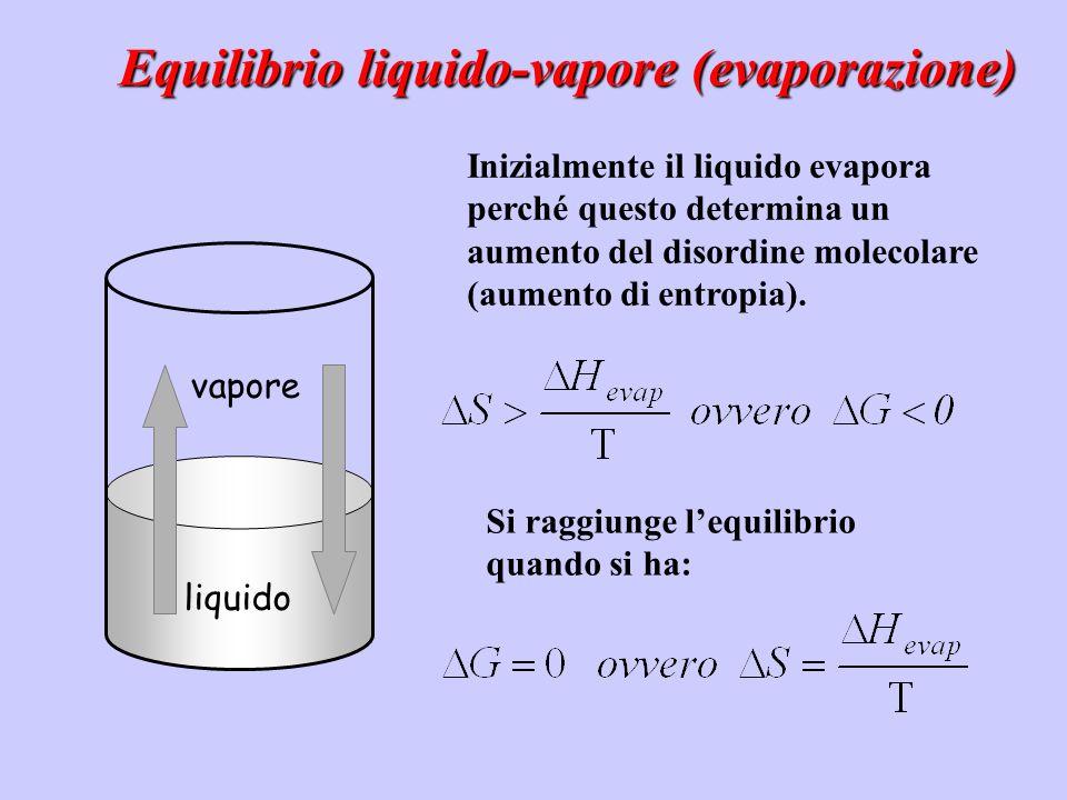 liquido Inizialmente il liquido evapora perché questo determina un aumento del disordine molecolare (aumento di entropia). vapore Equilibrio liquido-v