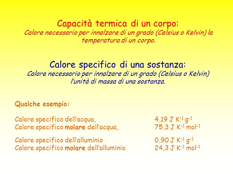 Reazione esotermica (a pressione costante): H<0 Reazione endotermica (a pressione costante): H>0 Alcuni esempi: C(grafite) + O 2 (g) CO 2 (g) H° = -393,51 kJ mol -1 O 2 (g) + 2 H 2 O(l) 2 H 2 O 2 (l) H° = 196,10 kJ mol -1 2 O 3 (g) 3 O 2 (g) H° = -285,40 kJ mol -1 CaCO 3 (s) CaO(s) + CO 2 (g) H° = 178,53 kJ mol -1