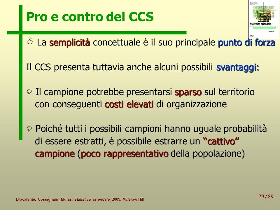 29/89 Bracalente, Cossignani, Mulas, Statistica aziendale, 2009, McGraw-Hill Pro e contro del CCS semplicità punto di forza La semplicità concettuale
