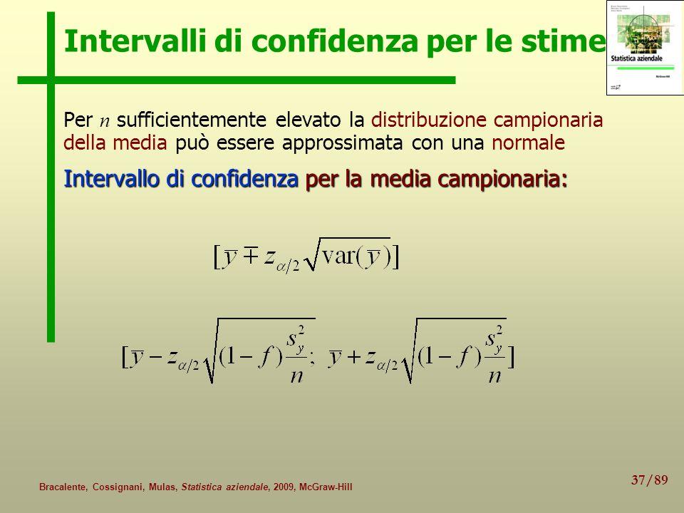 37/89 Bracalente, Cossignani, Mulas, Statistica aziendale, 2009, McGraw-Hill Intervalli di confidenza per le stime Per n sufficientemente elevato la d