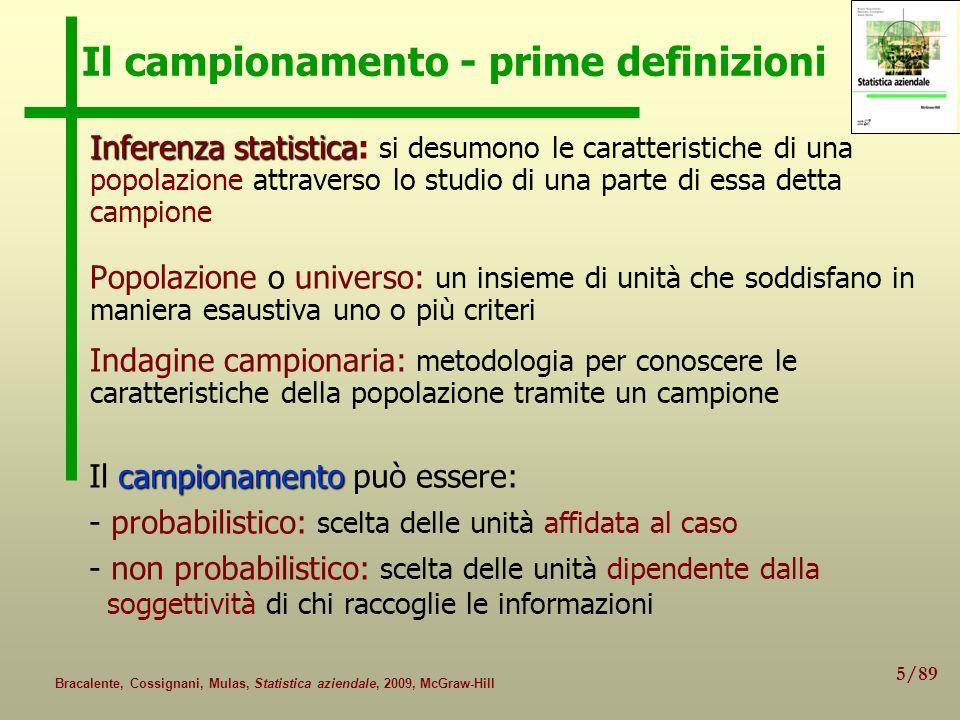 5/89 Bracalente, Cossignani, Mulas, Statistica aziendale, 2009, McGraw-Hill Il campionamento - prime definizioni Inferenza statistica Inferenza statis