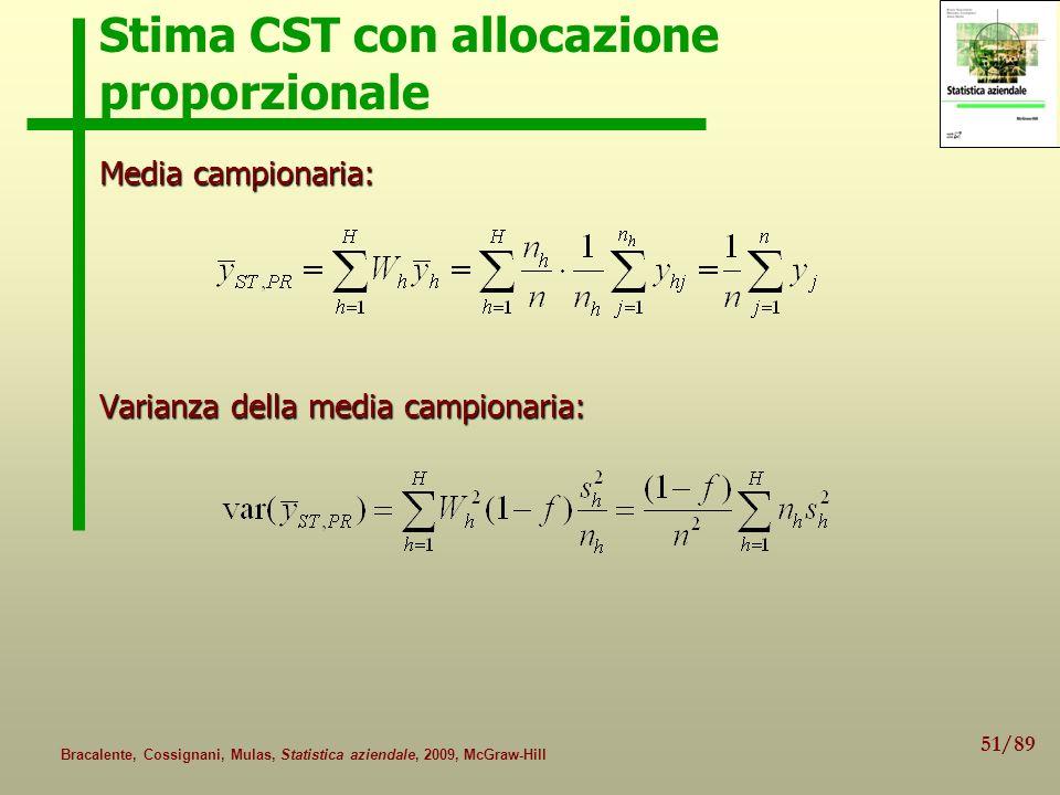 51/89 Bracalente, Cossignani, Mulas, Statistica aziendale, 2009, McGraw-Hill Stima CST con allocazione proporzionale Media campionaria: Varianza della