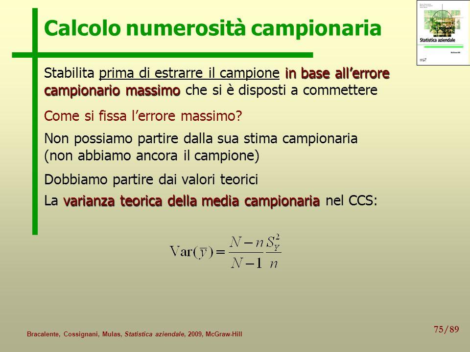 75/89 Bracalente, Cossignani, Mulas, Statistica aziendale, 2009, McGraw-Hill Calcolo numerosità campionaria in base allerrore campionario massimo Stab
