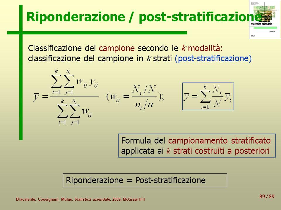 89/89 Bracalente, Cossignani, Mulas, Statistica aziendale, 2009, McGraw-Hill Riponderazione / post-stratificazione Formula del campionamento stratific