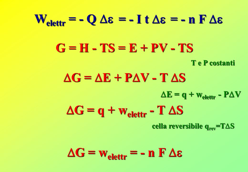W elettr = - Q W elettr = - Q = - I t = - I t G = E + P V - T S G = E + P V - T S G = H - TS = E + PV - TS E = q + w elettr - P V E = q + w elettr - P