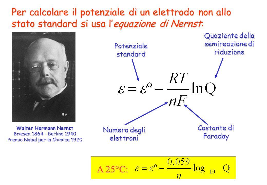 Per calcolare il potenziale di un elettrodo non allo stato standard si usa lequazione di Nernst: Walter Hermann Nernst Briesen 1864 – Berlino 1940 Pre