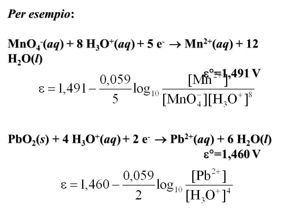 Per esempio: MnO 4 - (aq) + 8 H 3 O + (aq) + 5 e - Mn 2+ (aq) + 12 H 2 O(l) =1,491 V =1,491 V PbO 2 (s) + 4 H 3 O + (aq) + 2 e - Pb 2+ (aq) + 6 H 2 O(