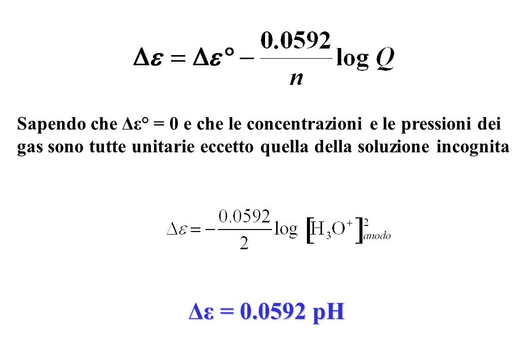 Sapendo che Δε° = 0 e che le concentrazioni e le pressioni dei gas sono tutte unitarie eccetto quella della soluzione incognita Δε = 0.0592 pH