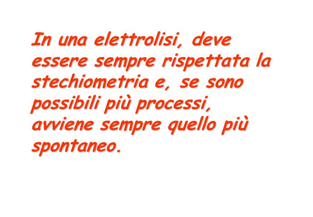 In una elettrolisi, deve essere sempre rispettata la stechiometria e, se sono possibili più processi, avviene sempre quello più spontaneo.