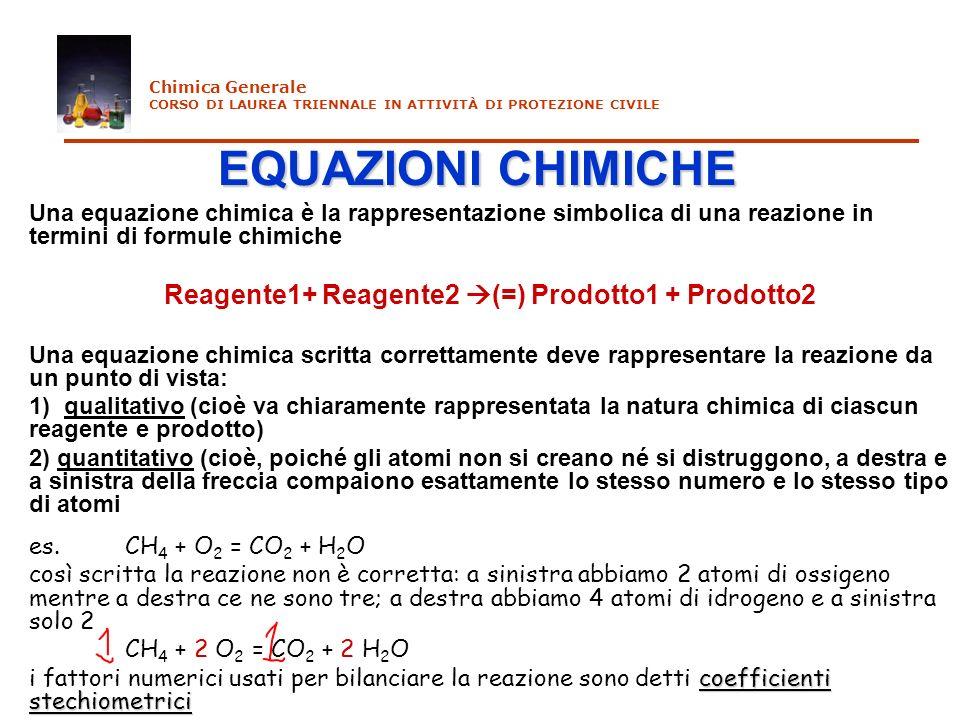 C 3 H 8(g) + 5 O 2(g) = 3 CO 2(g) + 4 H 2 O (g) 1 mole 5 moli 3 moli4 moli 1 volume 5 volumi 3 volumi4 volumi Chimica Generale CORSO DI LAUREA TRIENNALE IN ATTIVITÀ DI PROTEZIONE CIVILE