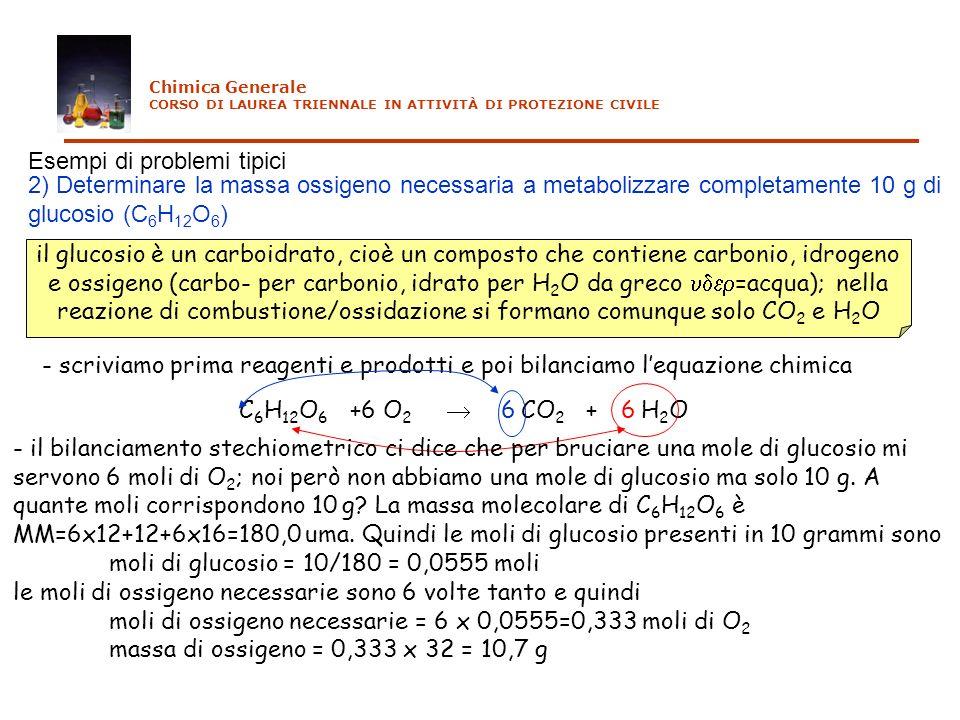 Esempi di problemi tipici 3) Determinare la massa di ossido ferrico (presente nelle rocce ferrose) necessarie a produrre 10 tonnellate di ferro per trattamento con carbone - scriviamo prima reagenti e prodotti e poi bilanciamo lequazione chimica Fe 2 O 3 + C CO 2 + Fe3 - per produrre 4 moli di ferro metallico mi servono 2 moli di ossido ferrico e 3 moli di carbonio; noi però vogliamo produrre 10 tonnellate (=10x1000 kg = 10x1000x1000 g = 10 7 g).
