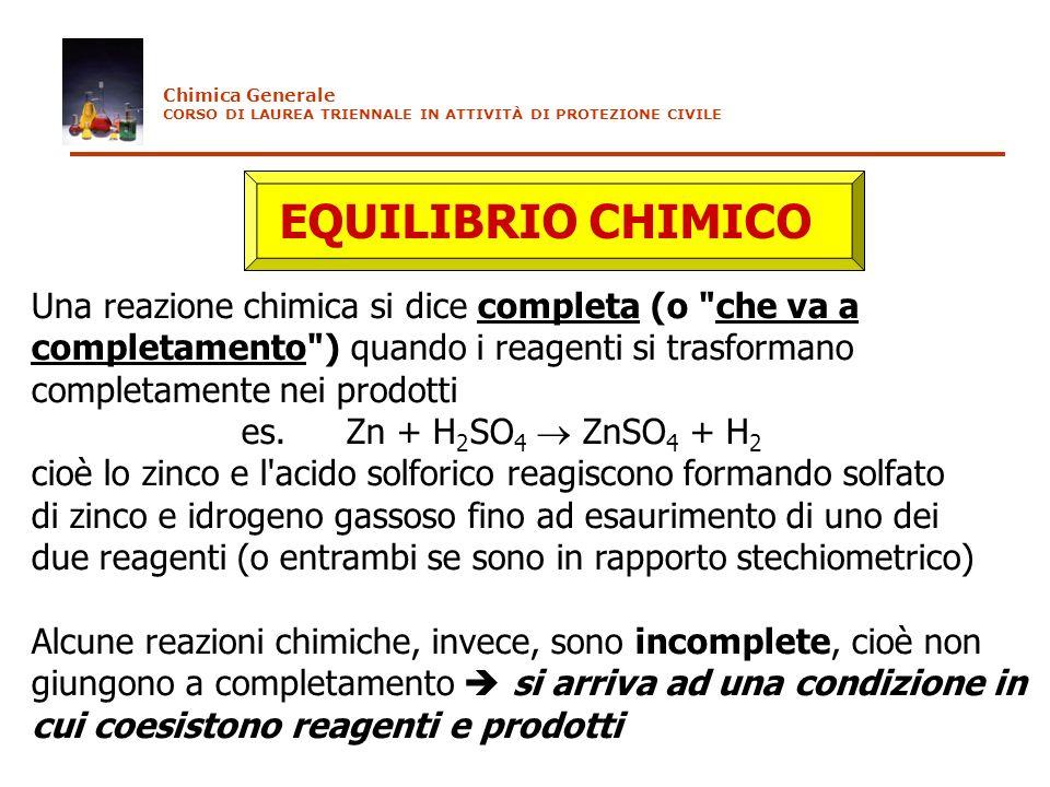 EQUILIBRIO CHIMICO Una reazione chimica si dice completa (o