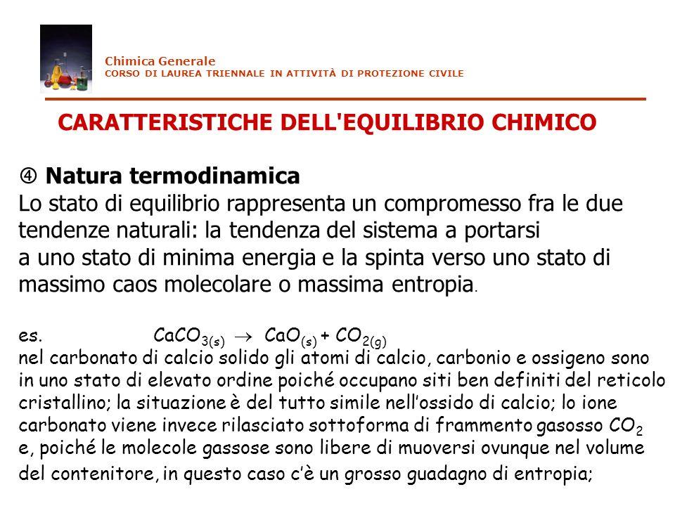 CARATTERISTICHE DELL'EQUILIBRIO CHIMICO Natura termodinamica Lo stato di equilibrio rappresenta un compromesso fra le due tendenze naturali: la tenden